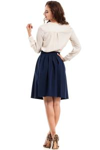 Dark Blue Pleated Knee Length Skirt