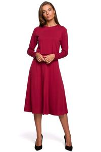 Red Flared Casual Midi Dress