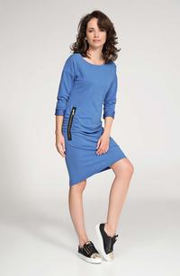 Blue Casual Dress with Zippers
