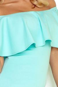 Mint Green Bodycon Dress with Frilled Offshoulders Neckline