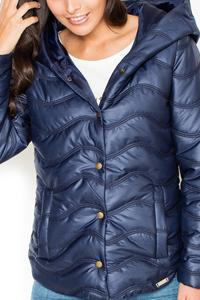 Blue Light Padding Hooded Snaps Closure Short Jacket