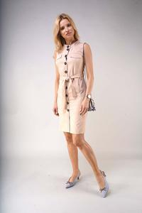 Safari Style Summer Dress - Dark Beige