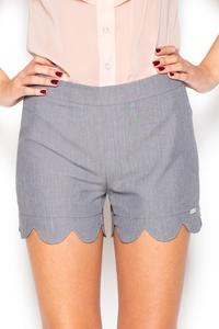 Grey Hight Waist Decorative Cut Out Legs Shorts