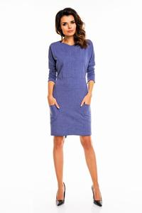 Blue Office Style Belted Dress