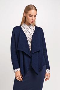 Navy Blue Stylish Loose Lapels Cardigan