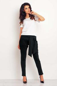 Black Tapered Legs Jogger Belted Pants
