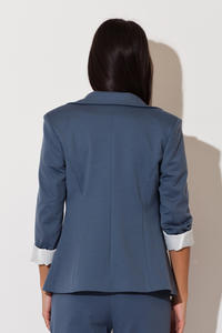 Blue Long Lapel Blazer with Contrast Cuffs