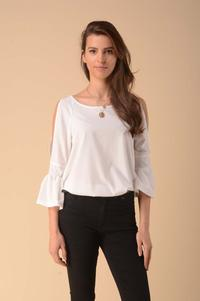 Blouse with a slit on the sleeves - Ecru