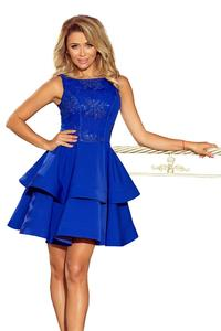 Double Flared Deep Blue Pretty Mini Dress