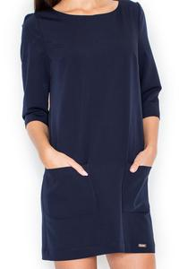 Dark Blue A-Line 3/4 SLeeves Mini Dress with Pockets