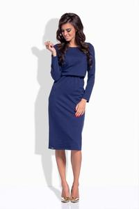 Dark Blue Elastic Waist Pencil Dress