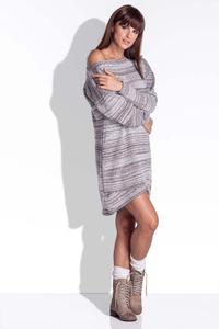 Mocca Knitted Dress with Asymetrical Neckline
