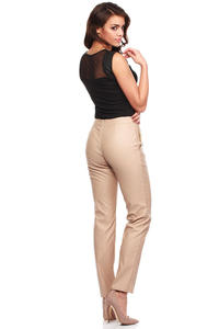 Beige Ultra Sleek Chic Straight Pants