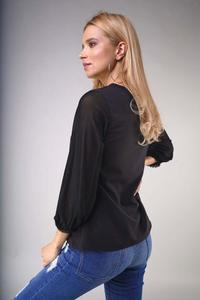 Black V-neck blouse with transparent 3/4 sleeves