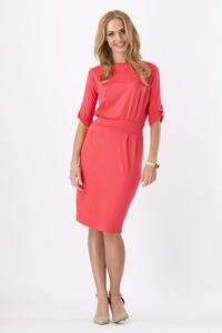 Coral Red Casual Self Tie Belt and Rolled-up Sleeves Dress