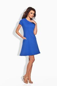 Blue Short Sleeves Flared Dress
