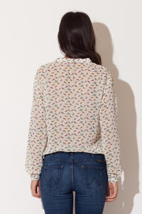 Off White Bird Printed Bow-tie Neckline Blouse