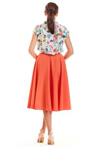 Coral Midi Skirt with Pockets