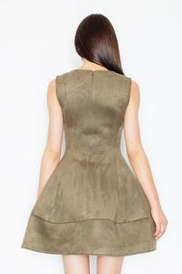 Olive Green Sleeveless Princess Style Dress