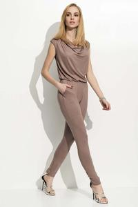 Cappuccino Long Slim Legs Ladies Jumpsuit