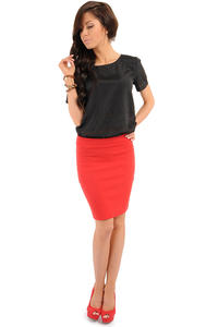 Red Bodycon Pencil Mini Skirt