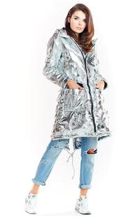 Silver Glossy Hooded Parka Coat