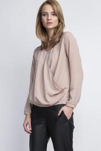 Mocca Brown Elegant Wrap Front Long Sleeves Blouse