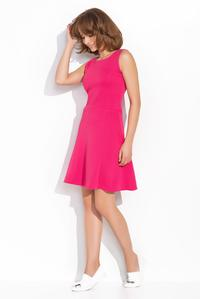 Pink Sleeveless Classic Round Neck Dress
