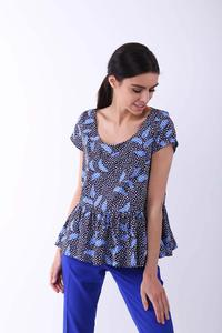 Blue Blouse with a Frill at the Bottom