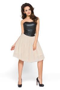 Beige Tulle Prom Dress with Bandeau Leather Bodice