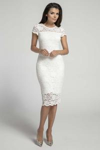Ecru Lace Pencil Midi Dress with V Neckline on the Back