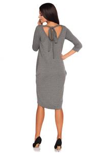 Grey Casual Dress with Cut Out Back and Self Tie Bow