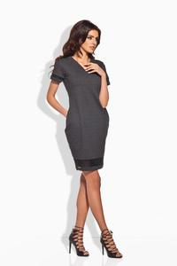 Dark Grey Casual Dress with Transparent Details