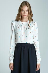 White Soft Office Blouse with Frill at The Shoulders