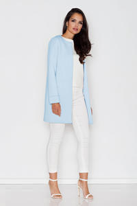 Blue Elegant Round Neck Short Coat