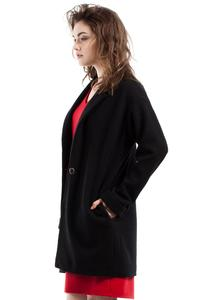 Black Loose Fit One Button Closure Short Coat