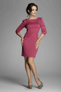 Fuchsia Bateau Neck Sheath Dress with Long Sleeves