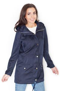 Dark Blue Zipp&Snaps Closure Parka Jacket
