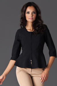 Black Frilled Hemline Blazer with Front Zipper Fastening