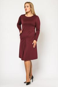 Maroon Double Fold Knee Length Dress PLUS SIZE