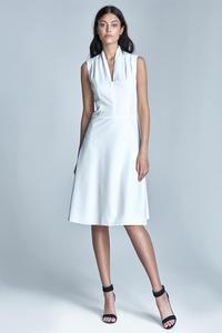 Ecru V-Neckline Midi Dress