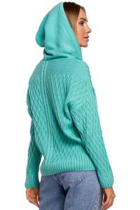 Practical Sweater with Drawstrings and Hood (Celadon)