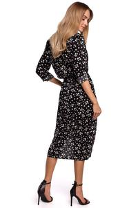 Midi Dress Sleeves 3/4 (black print)