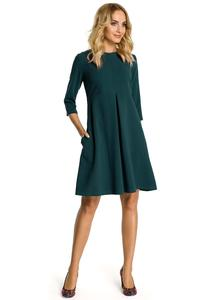 Green Flared Dress with Front Doublefold