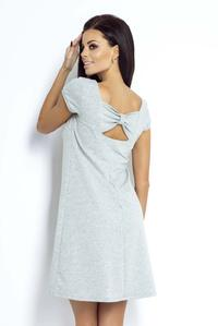 Grey Mini Dress with Bow at The Back