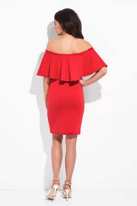 Red Bodycon Dress with Spain Style Neckline