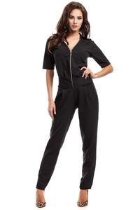 Black Zipper Closure Ladies Jumpsuit
