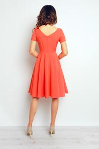 Coral V-Neckline Plared Midi Dress