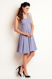 Light Blue Flared&Light Pleats Summer Dress