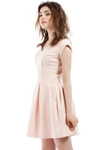 Peach Coctail Pleated V-Neckline Dress